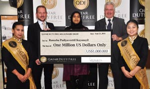 Raneeba Kayanayil Collects Her Million Dollar Cheque Becoming Qatar Duty Free's Sixth Millionaire