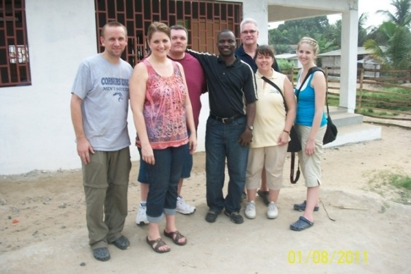 Head of American Team (first from left), along with SOGOM Harvest General Overseer (middle)