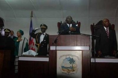 L-R: Pres. Sirleaf, Speaker Tyler(middle) & V.P Boakai at Capital Building