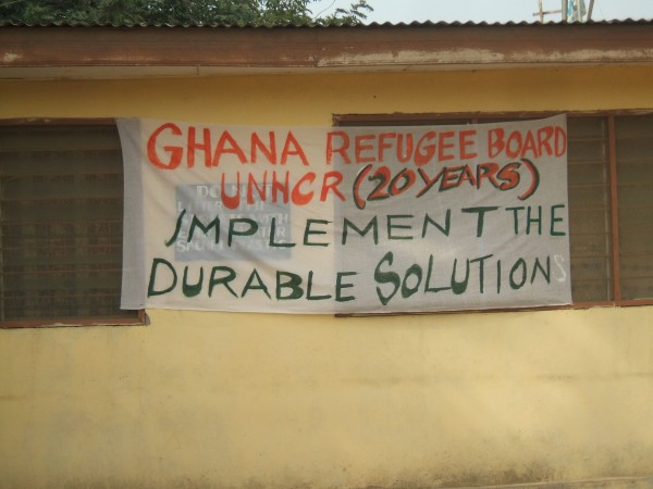 Picture of Refugee banner by Liberian Refugees in Ghana