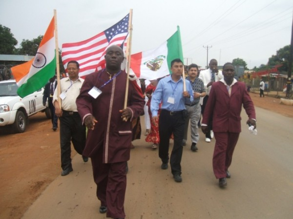 Bishop Gueh leading a Parade on the Somalia Drive