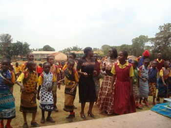 Mentorship program: Joining girls at Mangu primary school in a dance during a prize giving day