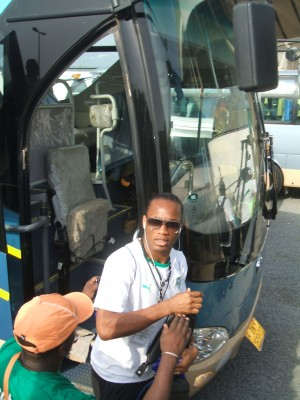 Drogba in front of bus