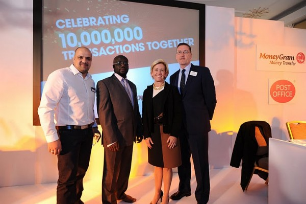 Maksud Matador, Subpostmaster from Manchester Post Office who transacted the 10 Millionth Transaction, John Marere, the customer who did the transaction and MoneyGram's CEO Pam Patsley and Martin Moran, Post Office Commercial & Marketing Director