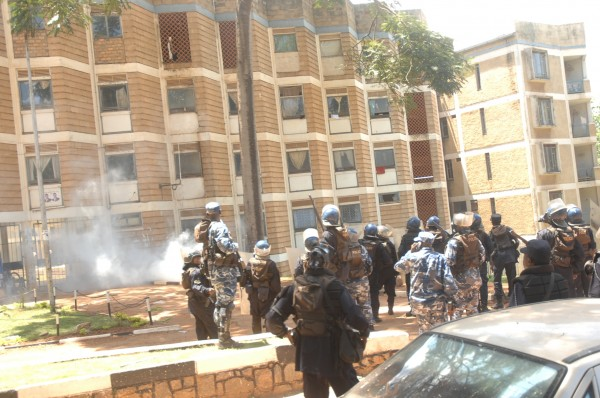 Police fire teargas into halls of residence