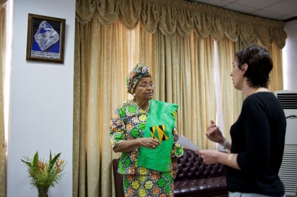 A chat between President Ellen Johnson-Sirleaf and Journalist Rose George, after  the exclusive interview