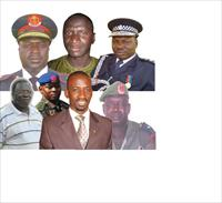 left Up- Ex Miltary Chief Tamba, Interlligence Agency Ex Chief. left down, Local Business Tycoo Joof, Camara, Secka, Mbaye