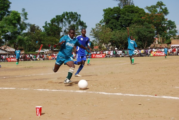 A Masaka SS player in a match against St. Mary's Kitende.