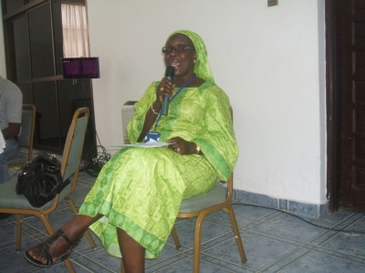 Madam Mariame Dem, Head of WAWA speaking at the start of the General Assembly