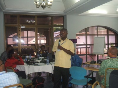 Mr. Augustine N. Myers, Chairman of WASH R&E Network-Liberia, giving success report
