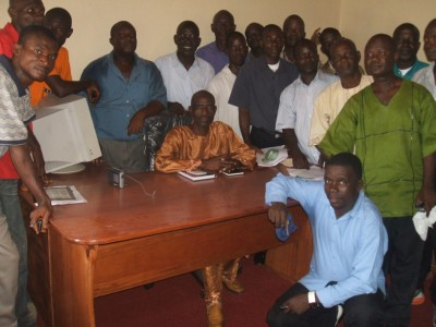"""Bishop Green (sitting) along with several pastors at the official launch of Crusade """"2011"""" Office in Gardnersville"""