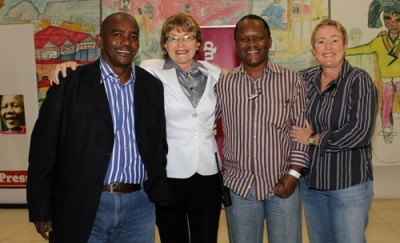 (L-R) Mzoli Ngcawuzele, Premier Helen Zille, Lungile Mbalo and Vivienne Quann on Friday 27th May 2011