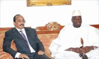 Mauritanian President Mohamed Ould Abdel Aziz with Gambian President Yahya Jammeh