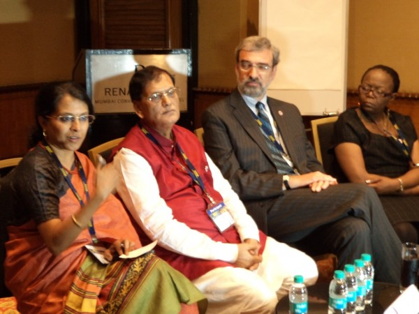 (L-R) Ms. Malini Shankar of the Government of Maharashtra, Dr. Bindeshwar Pathak of the Sulabh International Services Organization, WSSCC Executive Director, Jon Lane,  and Ms. Noma Nese of the Zimbabwe Human Rights Commission, at a Media Briefing