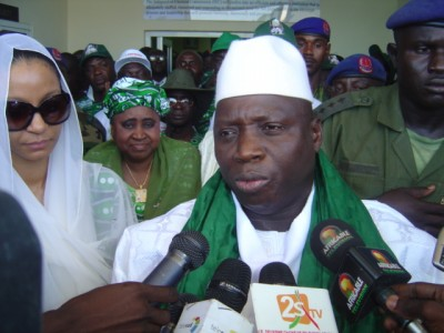 Jammeh speaking to journalists shortly after his nomination for presidency.
