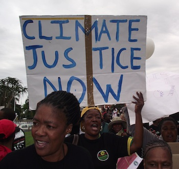 Protesters and Climate change summit