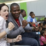 Helen White from the Children's Trust together with Idols finalist Lloyd Cele at the Red Cross Hospital