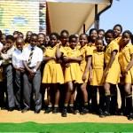 Pupils from Bathokwa Primary School, together with Rampele Morewane, Representative from National Department of Health