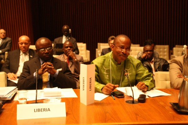 Liberia's Public Works Minister, Samuel Kofi-Woods, speaking at the start of the  High Level WASH Meeting in Washington D.C, USA. (Thanks to our U.S dispatch)