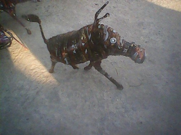 A warthog created using empty beer cans