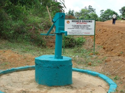 One of the newly constructed hand pumps in Arthington by Higher Ground International