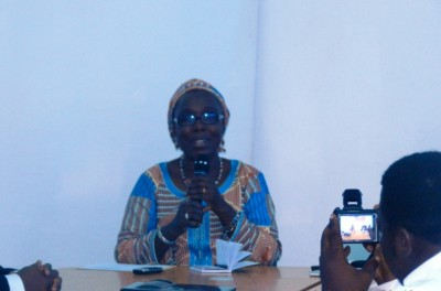 WaterAid West Africa Region Head, Mariame Den speaking at the Media Dialogue