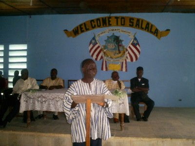 Mr. Binda addressing students at the Salala Administrative Building, where the Program was held