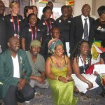 Olympians Outside Zimbabwe House in London yesterday