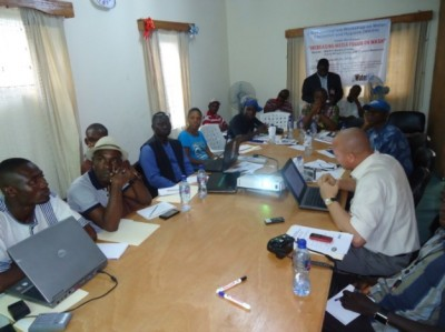 WaterAid Team Leader, Apollos Nwafor lecturing WASH Editors during the Training