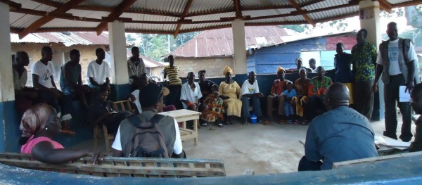 Town Hall Meeting on Peace Management & Reciliation between the Joint Monitoring Team, refugees and host community in Larpea # 2, Nimba County