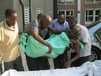 A patient being taken away from the Muhimbili National Hospital following the doctor's strike recently