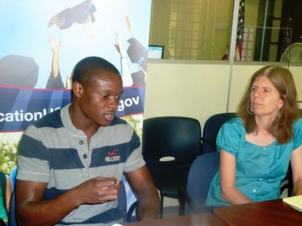 Long jumper and sprinter Ngoni Makusha with EducationUSA Advisor Rebecca Zeigler Mano. Makusha graduated from Florida State University where he was on a full sports scholarship