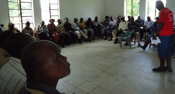 One of the interactive sessions in Salala, Bong County, organized by THRP-LCL