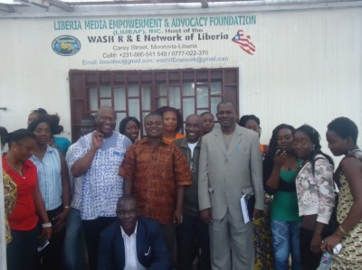 Some of the participants in a group photo at the close of the official launch of the Samuel H. Pieh WASH Media Lecture Series, organized by the WASH Media Network-Liberia