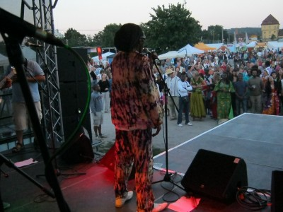Leader of Ngoma AFrica band greets fans in Tubingen