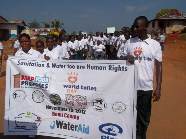 WASH CSO, Students and other petitioners parade through the principal streets of Tubmanburg city, as part of World Toilet Day celebration in Liberia, November 19, 2012
