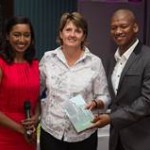 Glenvista CC raise the most funds in an Ambassador Day: Koo Govender (M-Net), Leanne Parsons (Glenvista CC), ProVerb (MC)