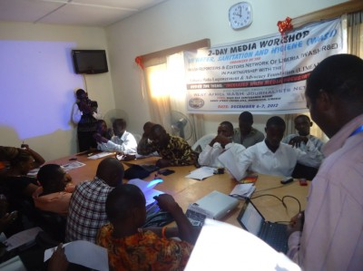 Some participants at the start of the 2-day WASH Media Workshop, organized by the WASH Reporters & Edtors Network of Liberia (WASH R&E), with support from the West Africa WASH Journalists Network