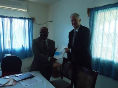 Display of copy of the Grant Agreement signed between Living Water International-Liberia and Chevron Liberia Limited Country Manager