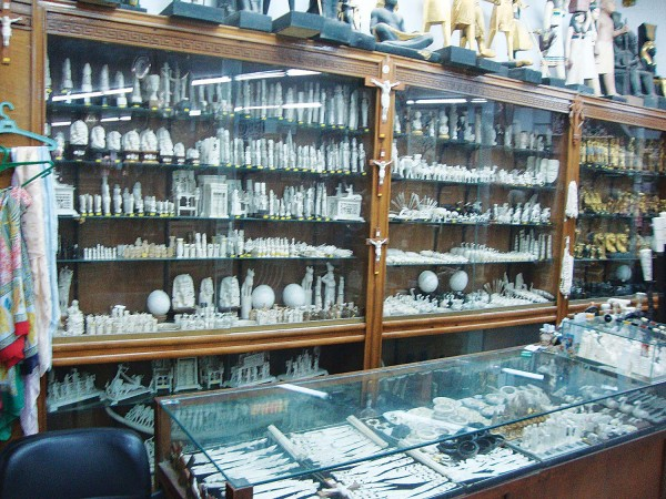 A large display of ivory items in Cairo