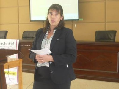 Irish Aid Programme Advisor, Carine Gachen speaks at the Irish Aid Media Launch Program