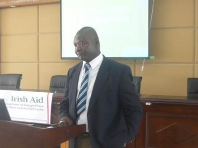 Assistant Health Minister, Tolbert Nyenswah officially launching the Irish Aid Grant
