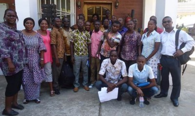Group photo of officials-elect and members of the newly established WASH Media Network-Sierra Leone