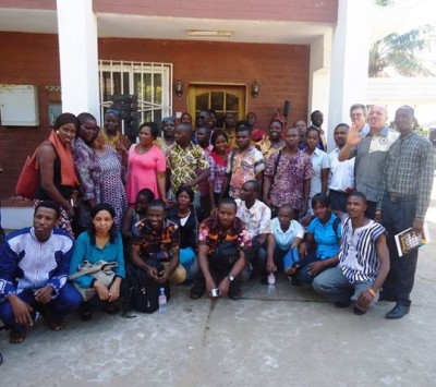 Members and officials-elect of the WASH Media Network-Sierra Leone, with WaterAid and the Urban WASH Consortium in a group photo