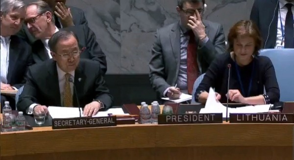 UN Secretary General, Mr. Ban Ki-moon addressing Security Council Session on the crisis in the Central African Republic