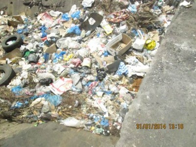 One of the clogged drainages in Monrovia as the result of huge garbage deposit