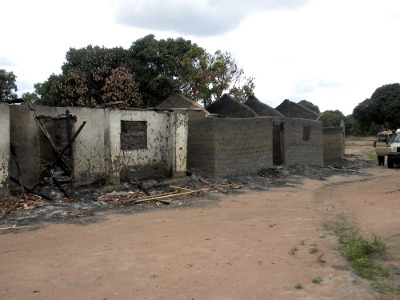 houses that were torched due to land conflicts between farmers and pastoralists in Mvomero District, Morogoro Region