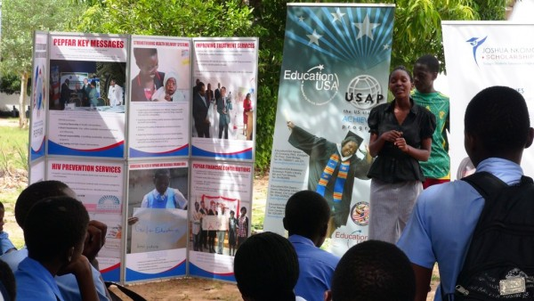 Chiza speaks to students during the Binga High School Careers Fair