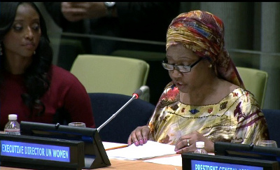Sierra Leonean born Isha Sesay, CNN Anchor and Moderator of UN International Women's Day Panel Discussion looks on as Phumzile Mlambo-Ngcuka, UN Women Executive Director addresses the panel