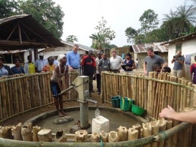 First hand pump constructed by Living Water International in Barzoe Town, rural Montserrado county since the Town was established in 1908